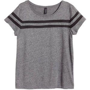 H&M Gray Mesh Striped Top